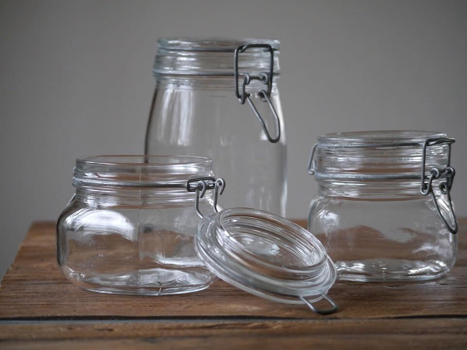 Exemples de bocaux en verre de différentes tailles